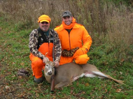 Dad Rz and Kris with 6 point buck