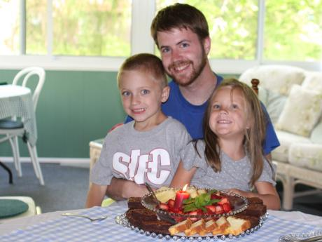 Adam and the kids with B-Day Brownies