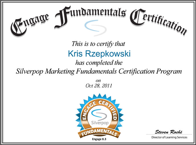 KRzepkowski-Silverpop-Engage-Certified