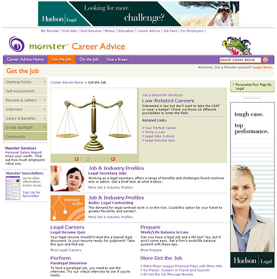 Monster Legal Career Center Home Page