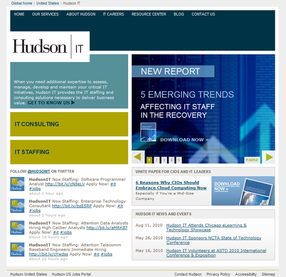 Hudson IT Microsite Home Page